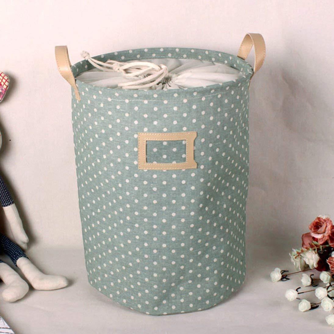 Cesto de ropa Plegable a prueba de agua Tela de algod/ón Cubo de lino Cesto de mano Bolsa Ropa sucia Colecciones de juguetes Almacenamiento