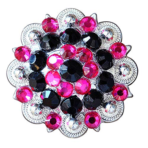 (1 Piece Black HOT Pink Crystal 1-1/4in Berry Concho Rhinestone Saddle Cowgirl)
