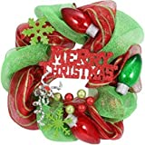 Holiday Time Christmas Decor 20'' Red and Green Mesh Wreath (4)
