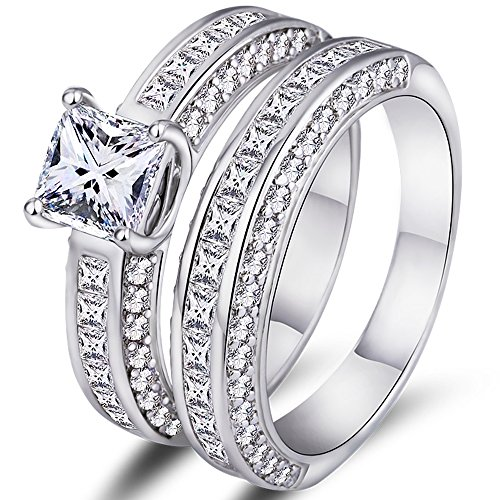 (Barzel White Gold Plated Cubic Zirconia Princess-Cut Double Band Engagement Ring Set (5))