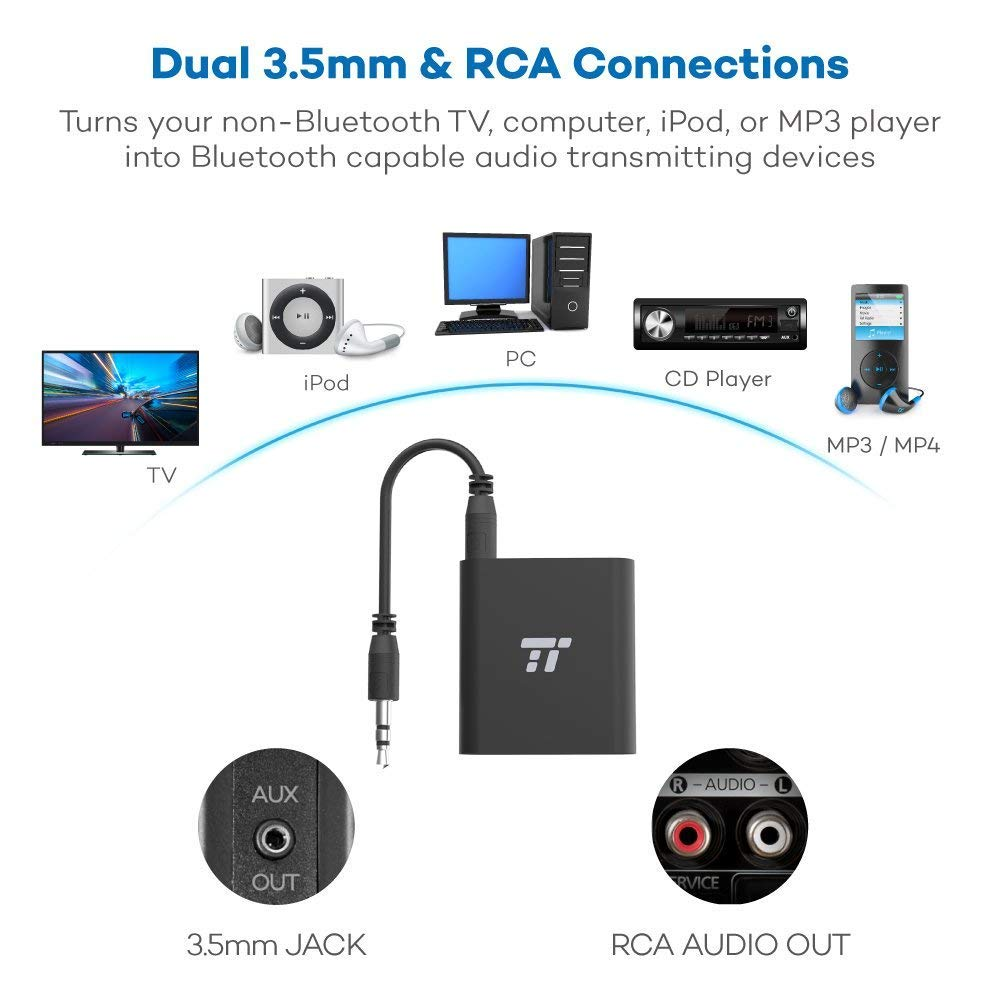 TaoTronics 65ft Bluetooth Transmitter Long Range 3.5mm & RCA Wireless Audio Adapter for TV (aptX Low Latency, Bluetooth 4.2, Pair 2 Stereos Headphones at Once) by TaoTronics (Image #4)