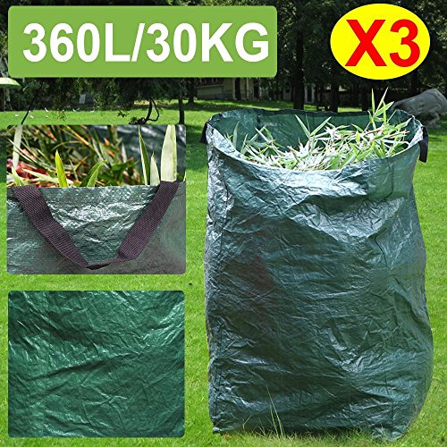 go2buy Garden Waste Bag With Large Capacity Reusable Gardening Bags for leaves 3Pcs X 90Gallon by go2buy