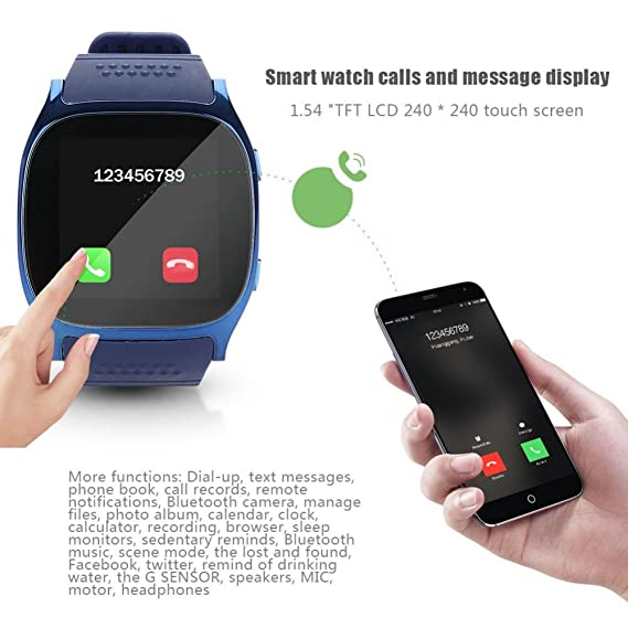 VBESTLIFE Reloj Inteligente Bluetooth Pulsera Band Impermeable de Deporte MY-T8 gsm Control Remoto de Cámara Llmadas Recordatorio Soporta Tarjeta TF/Micro ...
