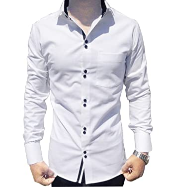 8cf51be8e S.N. Men s Cotton Shirt (White)  Amazon.in  Clothing   Accessories