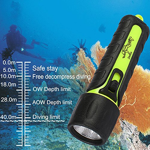 Three trees Diving Flashlight,3W 110 Lumens Super white LED Submarine Light Safety Waterroof Underwater Flashlight,For Scuba Outdoor Sports Rechargeable Super Bright LED Diving Torch Light