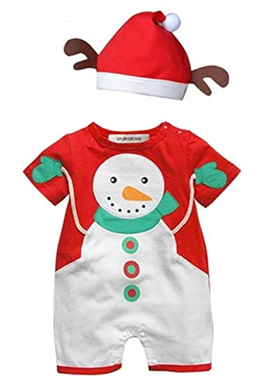 df4f2ae7ba9 Amazon.com: Baby Toddler Holiday Snowman Costume Romper Onesie + Hat ...