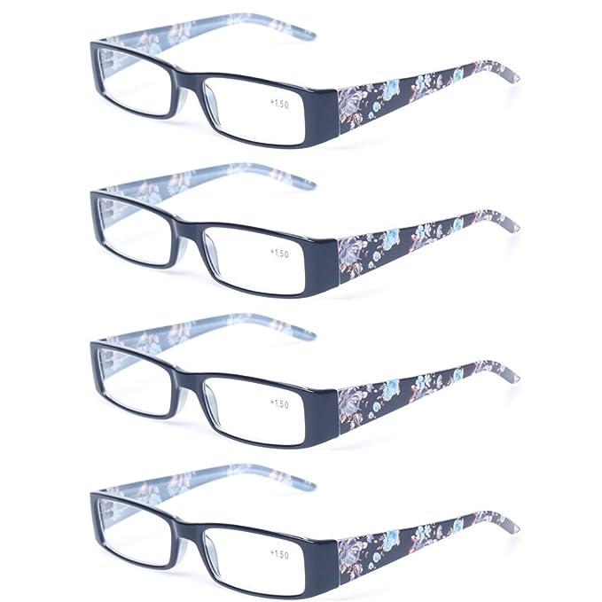 36ad202dc0b8 Kerecsen 4 Pack Fashion Women Reading Glasses Spring Hinge With Flower  Print Ladies Readers (