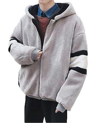 04455bfb354a3b Amazon | JIANGWEI モッズコート メンズ アウター 裏起毛 モコモコ 厚手 スプライス フード付き カップル 暖かい 冬 ゆったり  柔らかい ファッション カジュアル ...