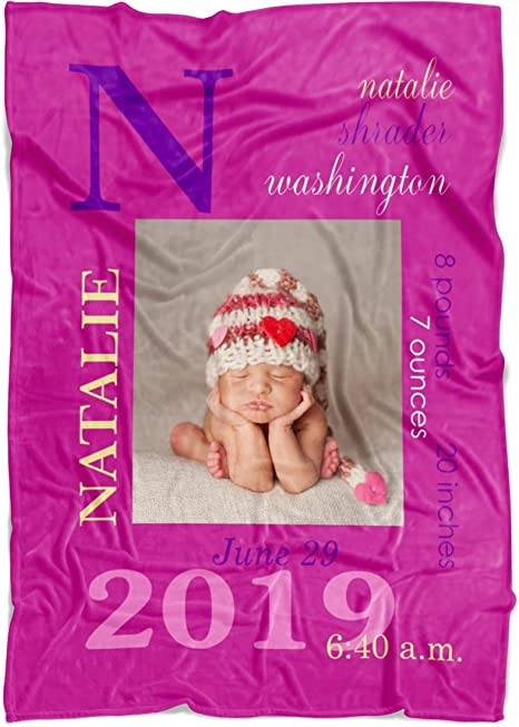 weight Gift for new mom /& time. Baby blanket with name inches Personalized Baby Boy Blanket with birth information birthdate height