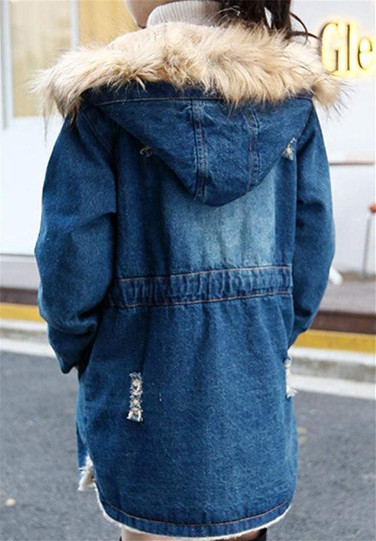 Conffetti Big Girls Fleece Mid Long Denim Faux Fur Hooded Kids Broken Hole Outerwear Parka Jacket
