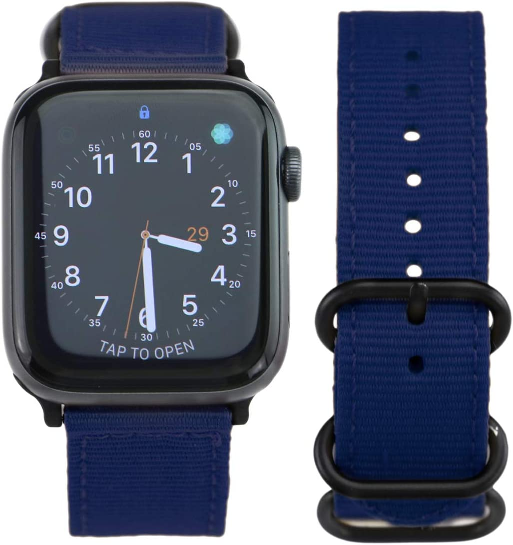 ARTCHE Nylon Watch Band for Apple Watch Band 38mm 40mm Sports Lightweight Replacement Strap Breathable Loop Band Compatible with iWatch Series 1 2 3 4 5, with Quick Release Buckle, Navy Blue