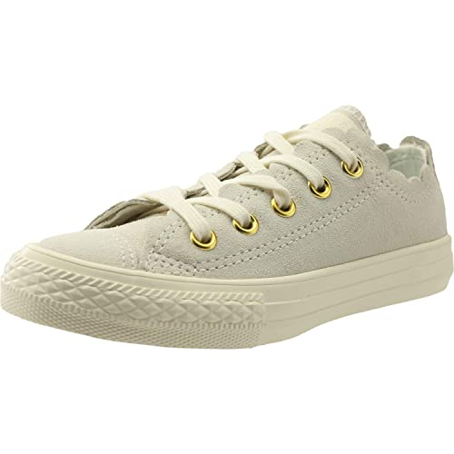 feaedd9edce Converse Chuck Taylor All Star Ox Frilly Thrills Egret Suede Junior Trainers   Amazon.co.uk  Shoes   Bags