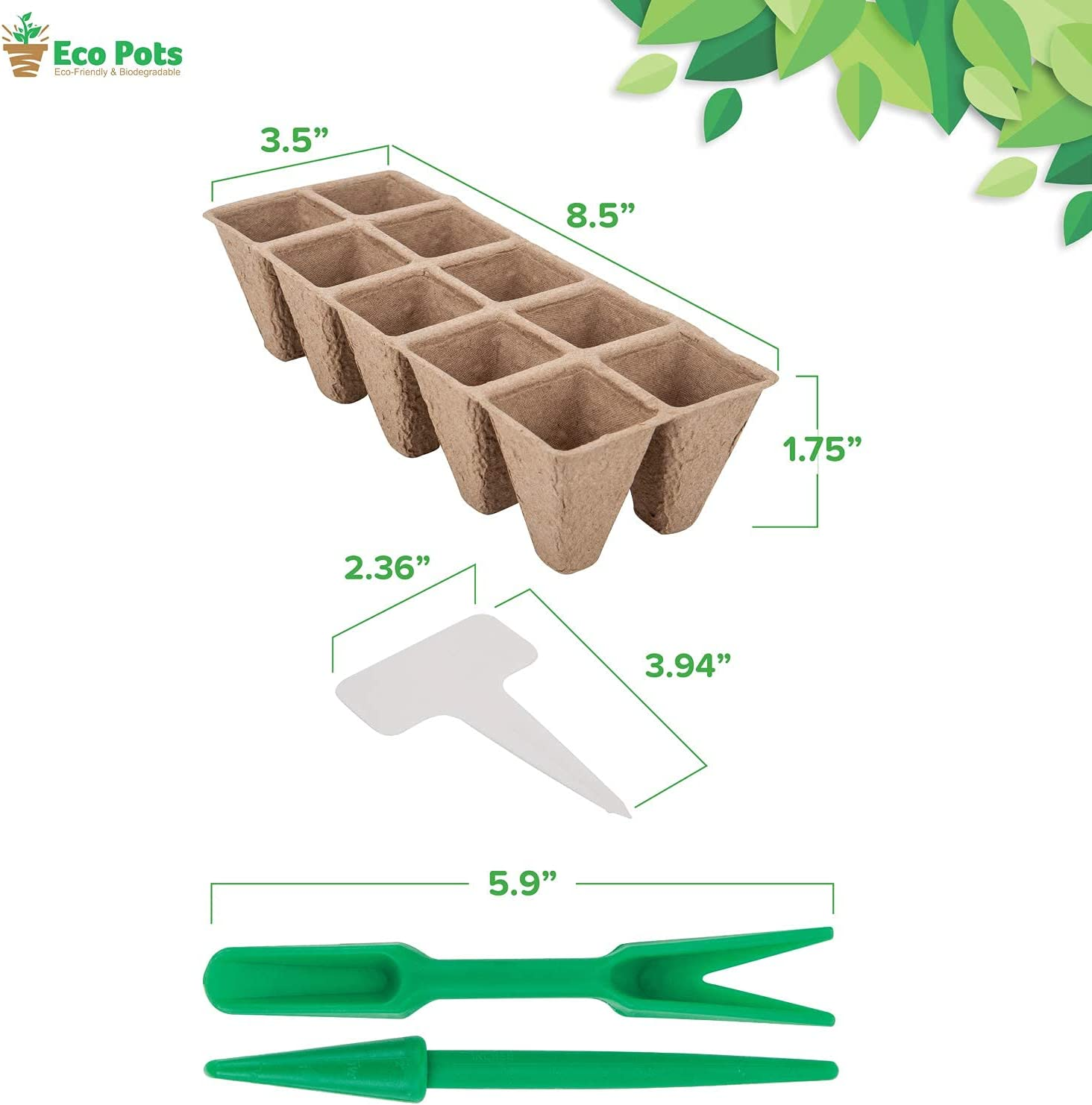 17 Trays; 12-Cells Per Tray Propagation Germination evergremmi Seed Starter Trays Biodegradable Seedling Starter Trays Plant Seed Starter Tray Kit for Planting Seedlings 204 Cells