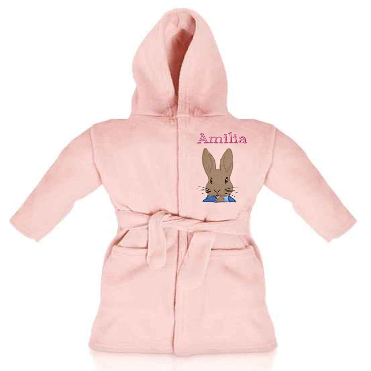 Peter Rabbit Personalised & Applique Super Soft Fleece Dressing Gown/Bathrobe (Pink 2-3) Peter Rabbit White