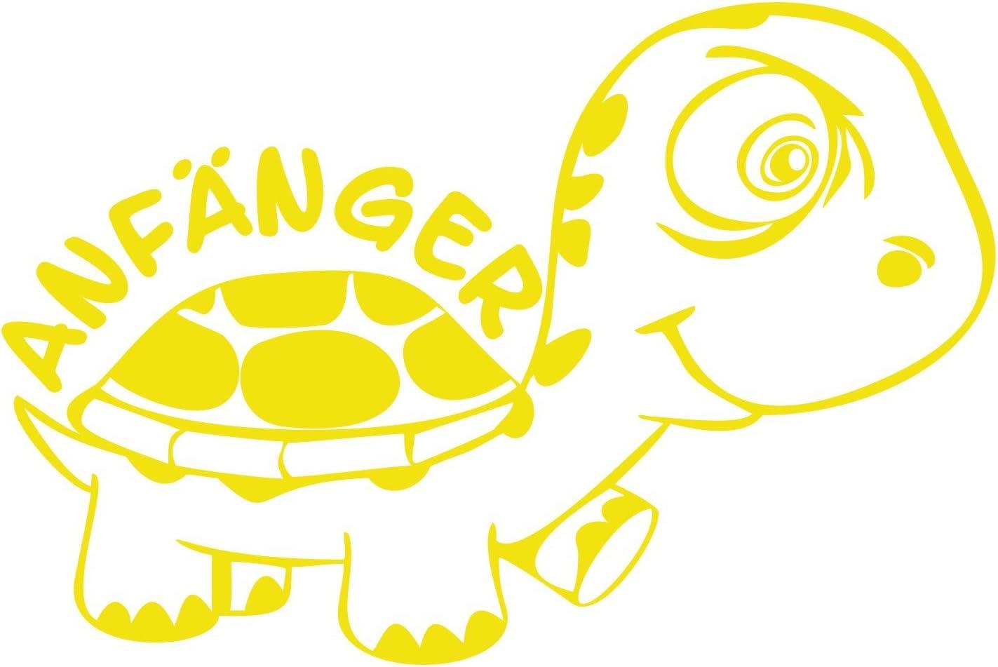 Folistick Anfänger Turtle Schildkröte Aufkleber Autotattoo Autoaufkleber Ausführung Rechts Schwefelgelb Auto