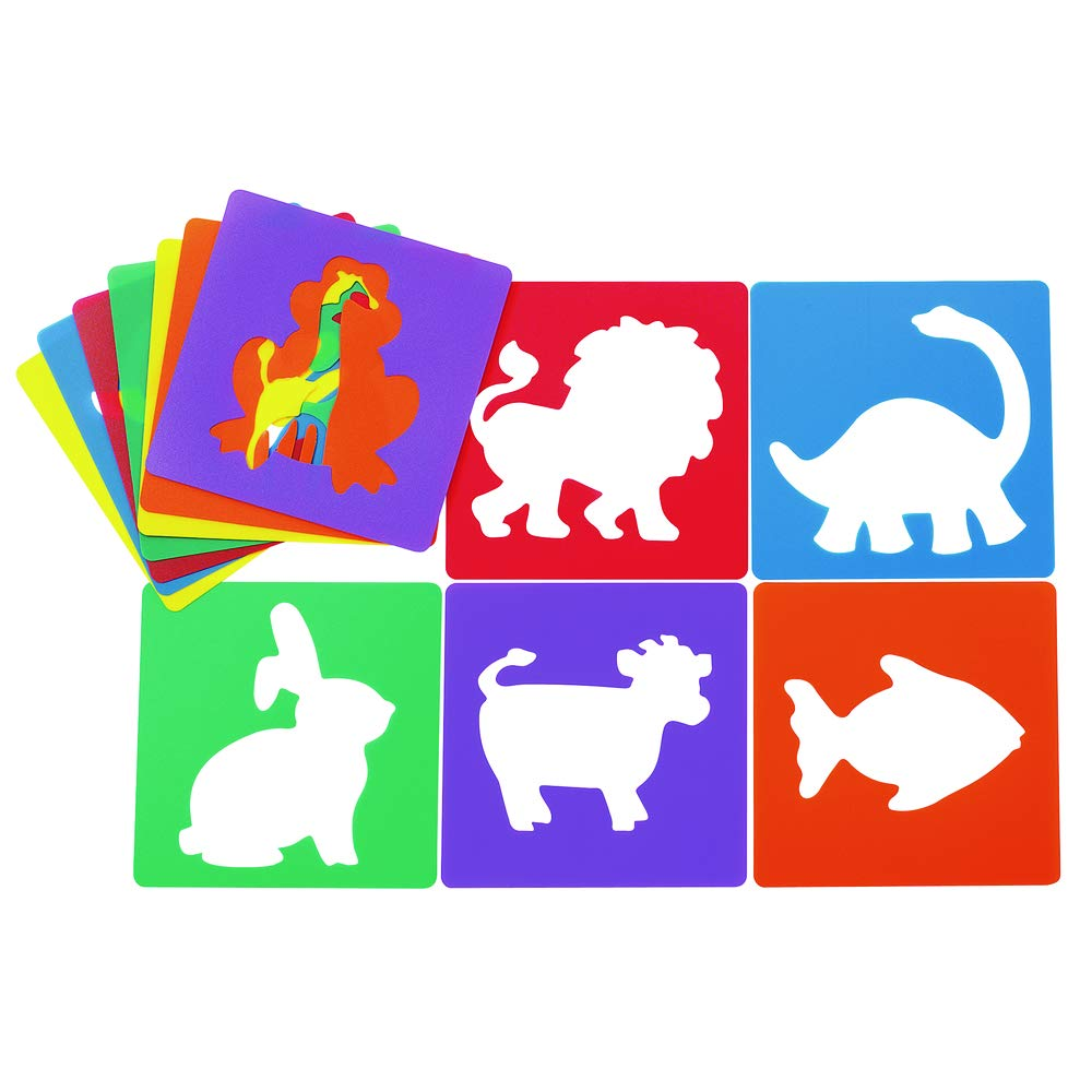 Colorations Animal Shape Stencils Set of 12 8'' Plastic Stencils for Kids Arts and Crafts Material by Colorations