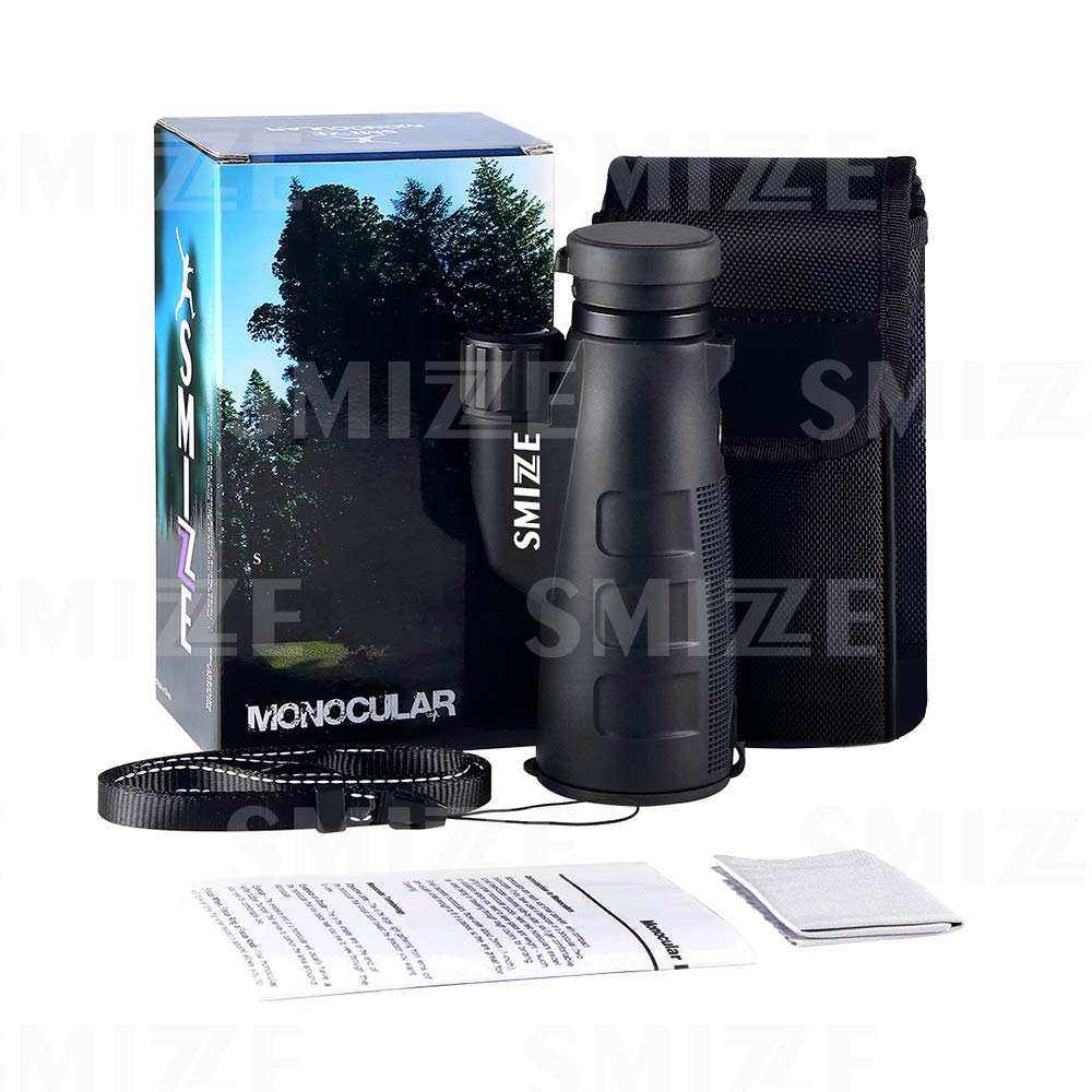 SmizZe Monocular 12x50 Pro - High Power Scope Compact - Our Optical Structure Get You Best Clarity & Brightness - One Hand Quick Focus - Waterproof Telescope For Adults Bird Watching Hunting Traveling