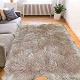 Furry Fluffy Fuzzy Super Soft Solid Faux Fur Sheepskin Lambskin Sheep Hide Animal Skin Livingroom Bedroom Nursery Room Floor Rug Carpet Area Rug Beige Tan Cream Neutral 5x7 Large ( Fur Shaggy Beige )