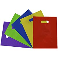 """9""""W x 12""""H, 1.25 Mil Assorted Color Plastic Merchandise Bags with Die Cut Handles, Plastic Shopping Bags, Party Favor Bags, Goodie Bags, Gift Bags Bulk, Light Usage - 50Pk"""