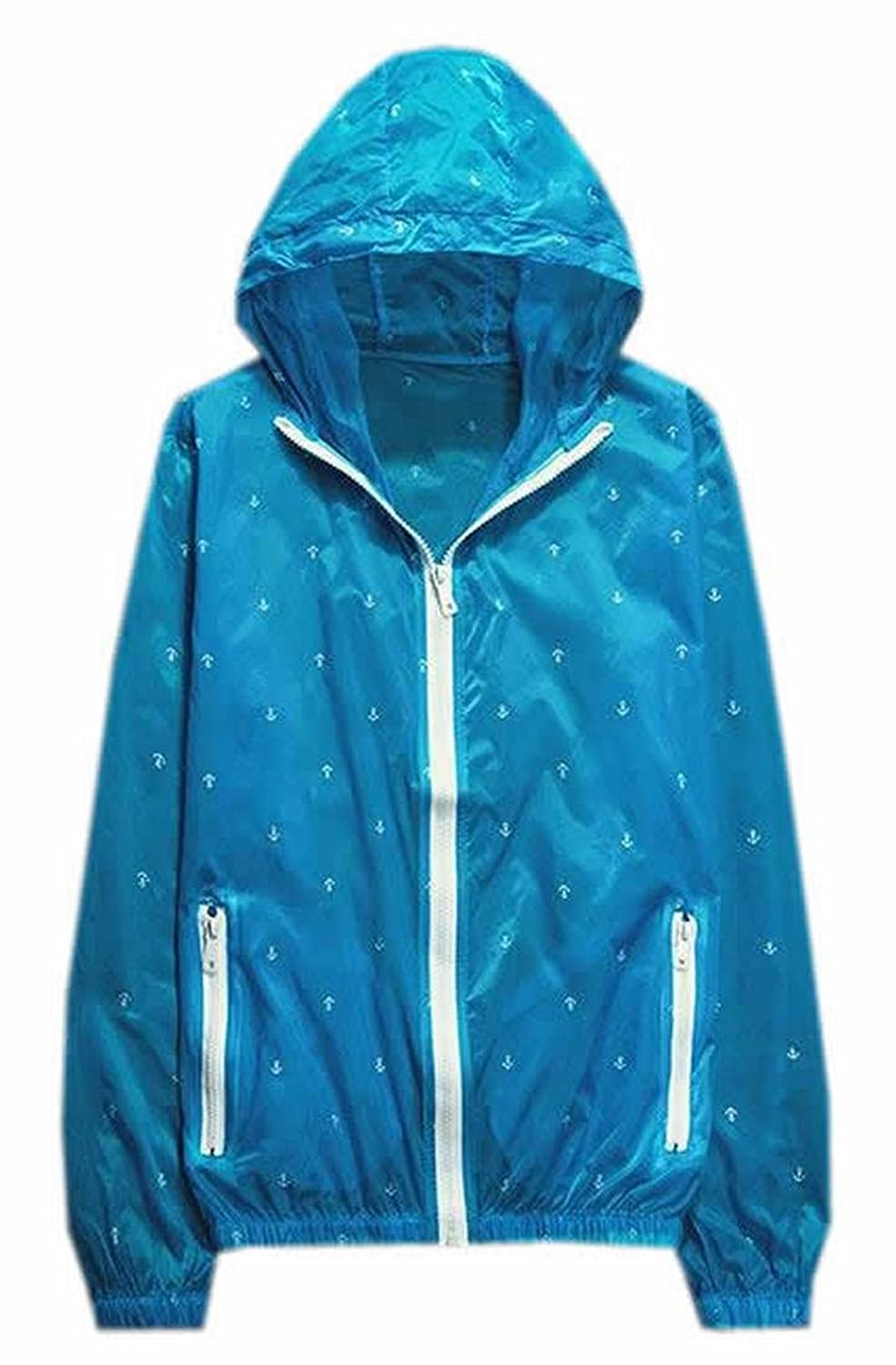 XQS Womens Thin Printed Skin Hooded Sun Protection Coats