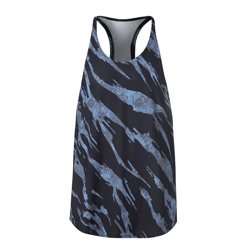 MODOQO Men's Vest,Fashion Casual Sport Tank Tops Camouflage Sleeveless Bodybuilding Tops(Dark Gray,CN-M/US-XS)