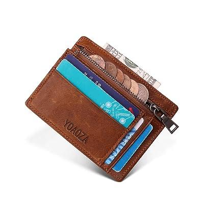 Mens Slim Minimalist Front Pocket RFID Wallet Genuine Leather Credit Card Holder