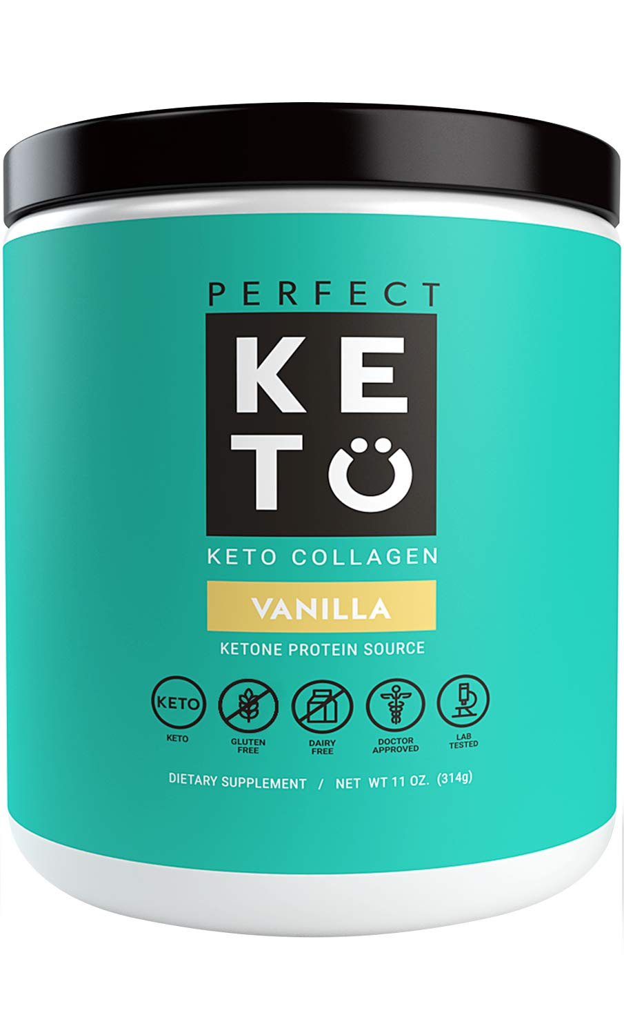 Perfect Keto Collagen Peptides Vanilla: Grass Fed Low Carb Collagen Powder Supplement with MCT Oil Powder - Best as Keto Drink Creamer or Added to Ketogenic Diet Snacks. Paleo & Gluten Free by Perfect Keto