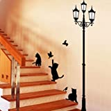 Decals Design 'Ancient Lamp and Cats' Wall Sticker (PVC Vinyl, 60 cm x 90 cm, Black)