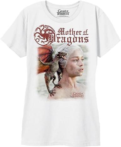 Playera de la Madre de los Dragones de Juego de Tronos, Color Blanco - Blanco - Large: Amazon.es: Ropa y accesorios
