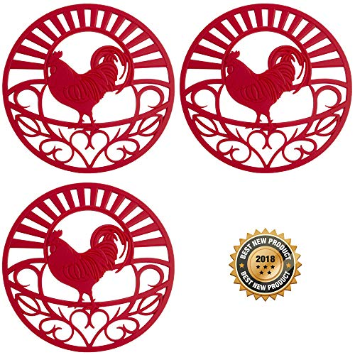 (Silicone Trivets Set For Hot Dishes | Modern Kitchen Hot Pads For Pots & Pans | Country Rooster Design (Symbol of Prosperity & Good Luck) Mimics A Cast Iron Trivet (7.5