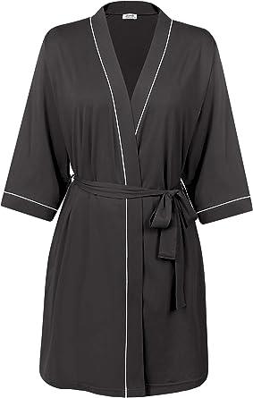 Amorbella Womens Cotton Dressing Gown Short Lightweight Kimono Robe Amazon Co Uk Clothing