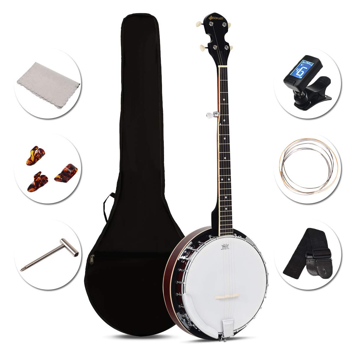 Costzon 5-String Banjo 24 Bracket with Geared 5th tuner and Mid-range  Closed Handle, Include 420D Oxford Cloth Bag, One Strap, Wiper, 3 Picks for