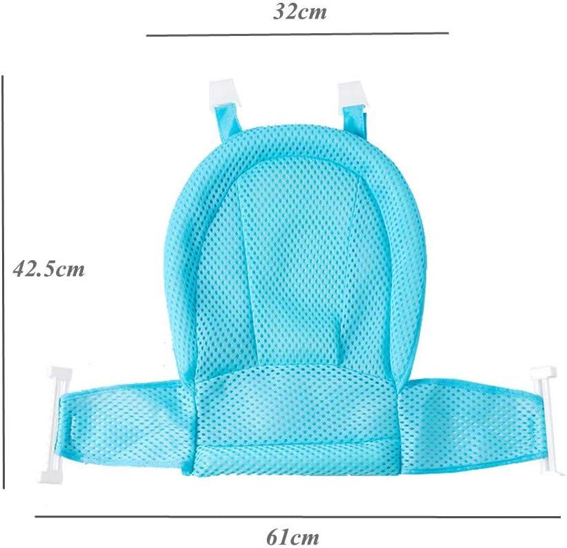 si/ège pour nouveau-n/é Baignoire pour b/éb/é douche maille filet pour baignoire avec quatre supports de s/écurit/é surface dassise antid/érapante bleu baignoires r/églables confortables