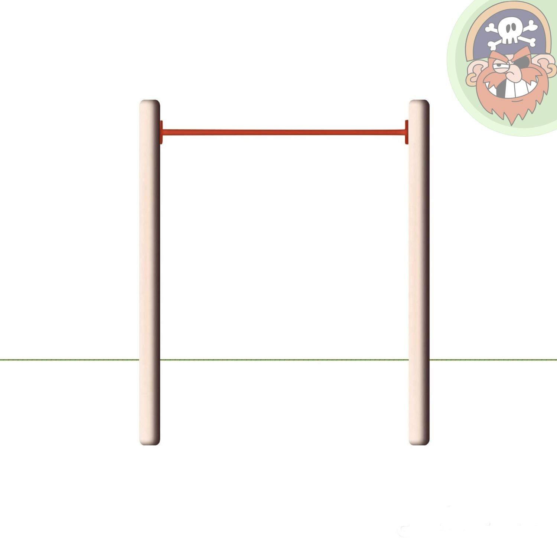 Einzelreck Modell ERR Holz-Turnreck mit Reckstange rot von Gartenpirat®