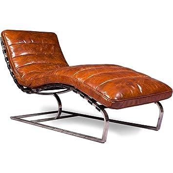 Marron Chaise Vintage Longue Cuir Premium Vieilli KTl3uF1Jc