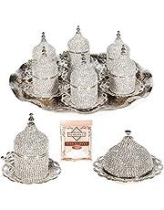27 st turkisk grekisk arabisk kaffe espresso kopp tefat Swarovski kristall set silver