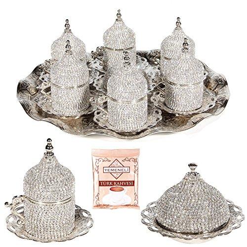 27 Pc Turkish Greek Arabic Coffee Espresso Cup Saucer Swarovski Crystal Set ()