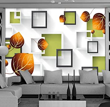 Amazon Com Yynight Photo Wallpaper 3d Stereo Geometry Square Box Autumn Leaves Large Wall Painting Living Room Sofa Tv Backdrop Wall Mural 400cmx280cm Baby