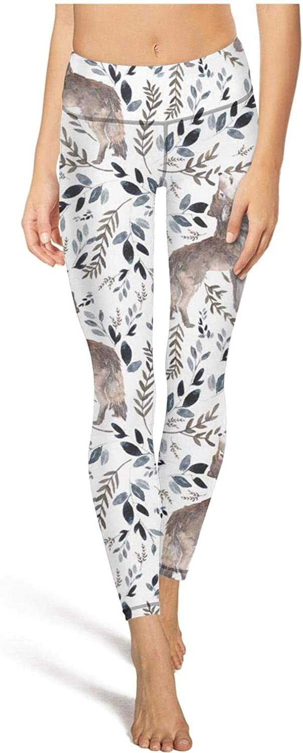 Digital Galaxy Wolf Womens Yoga Pants Super Soft Yoga Leggings with Pockets