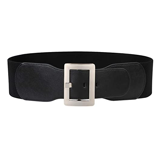 6fc1a7eebb2 Wide Elastic Belt For Women Black Waist Belt Ladies Stretch Cinch Belt For  Dress With Silver