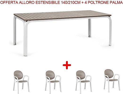 Nardi Garden - Juego de muebles de jardín: mesa extensible Alloro (140-210 cm) + 4 sillas Palma, color pardo: Amazon.es: Jardín