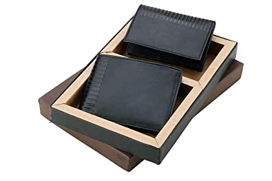 Two In One Black Leatherette Gents Wallet Card Holder Gift Set