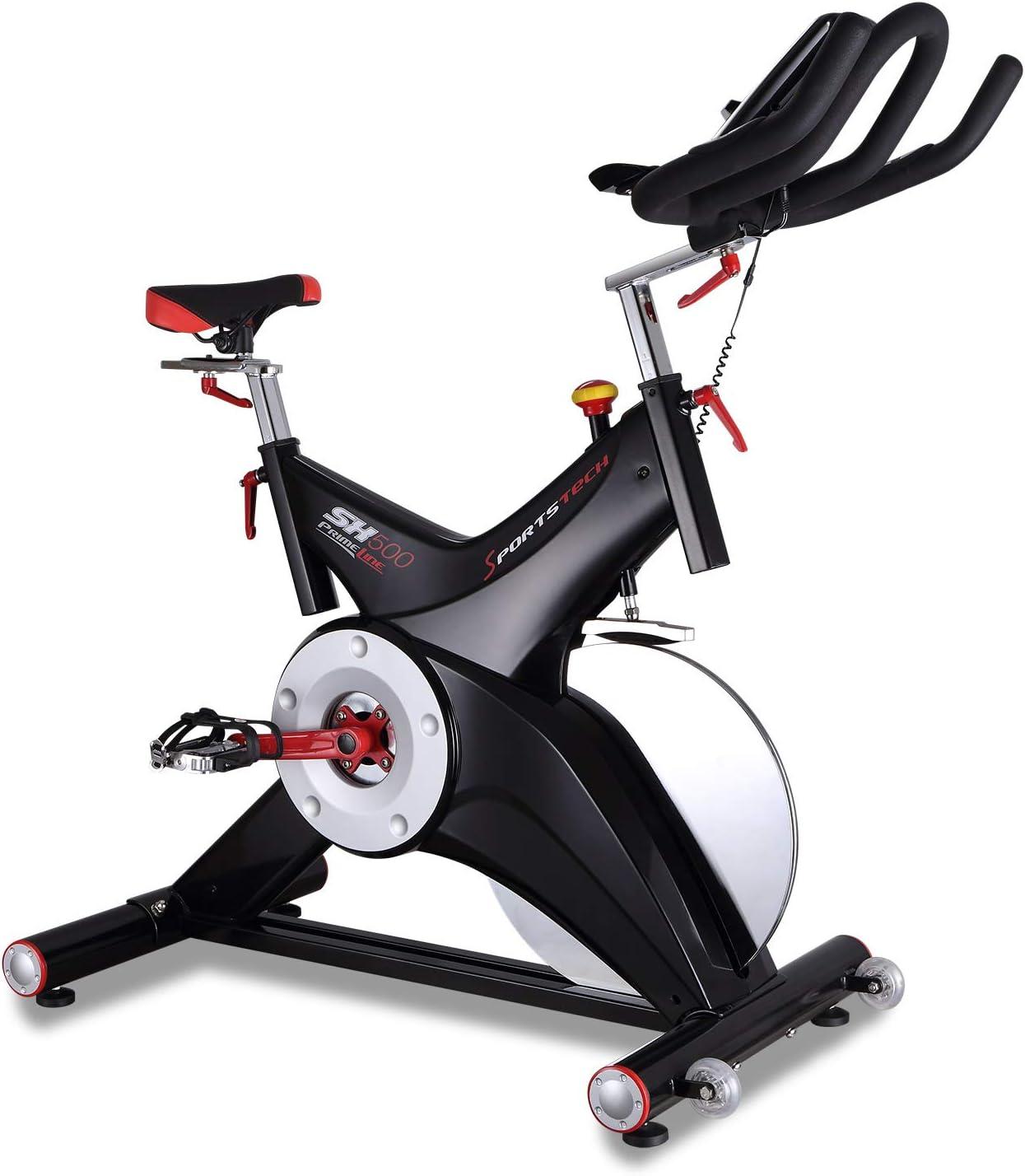 Sportstech Bicicleta estática Profesional SX500 -Marca de Calidad Alemana -Eventos en Vivo y App Multijugador, Volante de 25KG, Compatible con pulsómetro, Pedales de Click SPD, hasta 150KG, con eBook