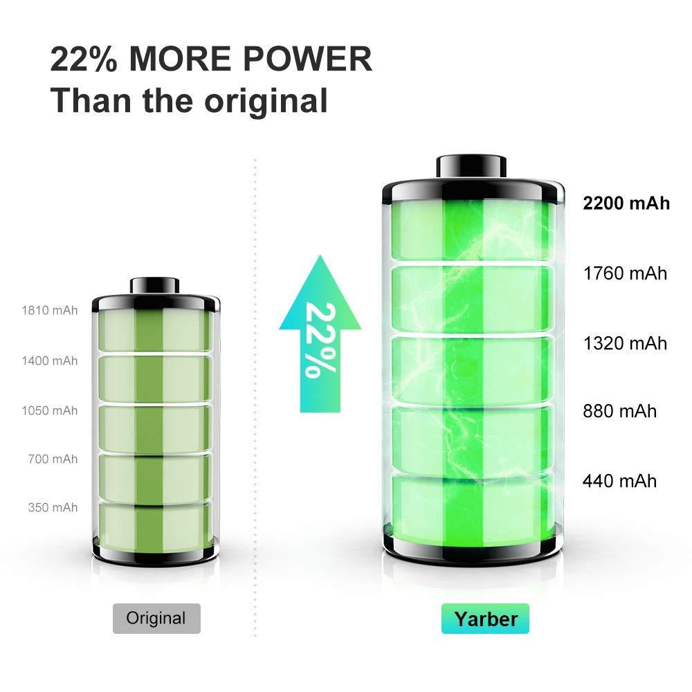 Solo para iPhone 5S YARBER Bater/ía para iPhone 5S Alta Capacidad Li-Ion 1800mAh con Kit de Herramientas de reparaci/ón Completo y Cinta Adhesivo de Doble,La Garant/ía de 24 Meses
