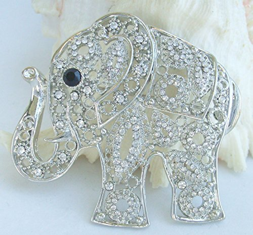 Sindary Unique Animal 2.17'' Silver-Tone Clear Rhinestone Crystal Elephant Brooch Pin Pendant BZ5102 by Animal Brooch-Sindary Jewelry (Image #3)