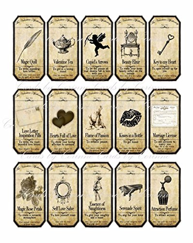 Vintage Inspired 15 steampunk Valentine apothecary bottle labels stickers laminated glossy cut ready to use.