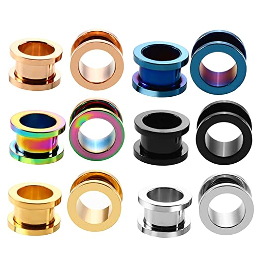 ERP 6 Par Pendientes para Dilatacion Oreja Piercing Oreja De Acero Inoxidable Mezclado En Múltiples Colores Disponible 1.6-16mm De Tamaños