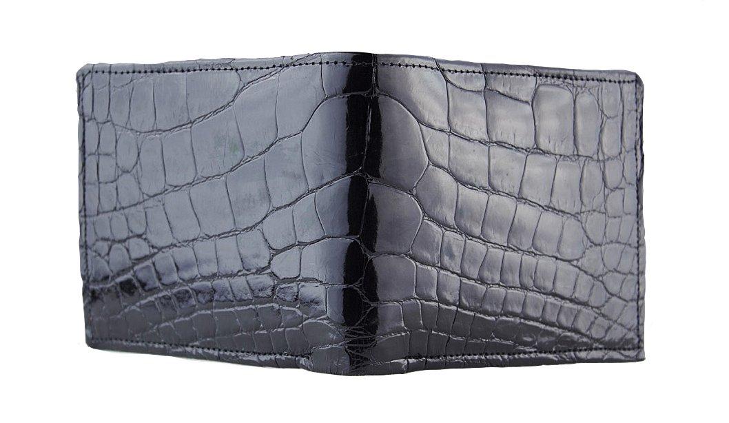 Black Glazed American Full Alligator Bifold Wallet Handmade by John Allen Woodward