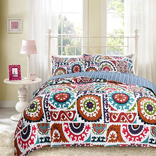 DaDa Bedding Bohemian Wildfire Gardens Reversible Cotton Quilted Coverlet Bedspread Set – Bright Vibrant Multi Colorful Rainbow Geometric Floral Print – Queen – 3-Pieces