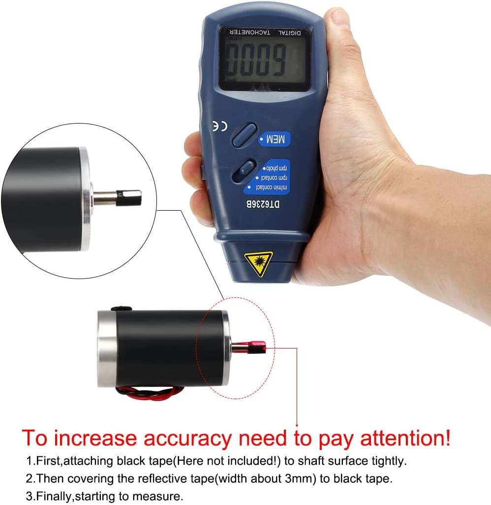 sourcingmap DT-6236B 2 in 1 Digital Tachometer Contact//Non-Contact Photo Tachometer RPM Tach Meter 2.5-99999 RPM Accuracy with Linear and Rotation Speed Measurement Wheels